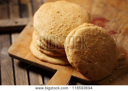 biscuit on a wooden board