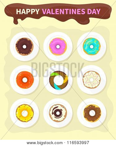Sweet Donuts Set Design Flat Food. Valentine day