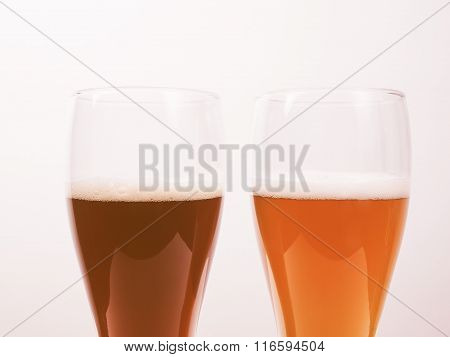 Two Glasses Of German Beer Vintage