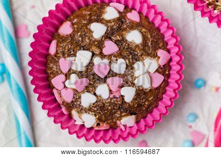 Muffins Happy Valentine Day Colorful Cakes Sweet Hearts