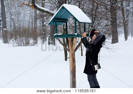 Woman winter feeding birds