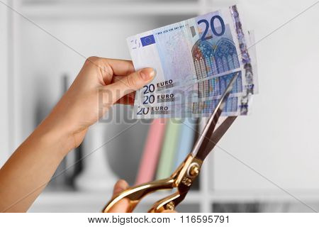 Hands with scissors cutting Euro banknotes, on blurred interior background