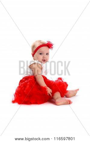 Girl In Red Skirt And Bandage On White Background