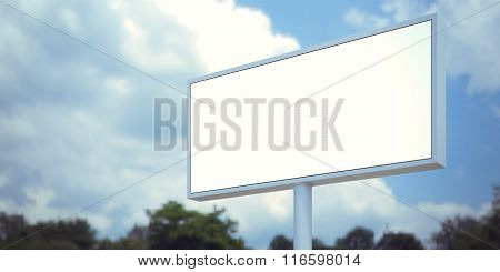 Blank billboard sign in forest and blue sky. Wide, blurred background. 3d render