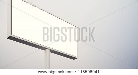 Blank billboard sign in sunrise sky. Wide, abstract background. 3d render