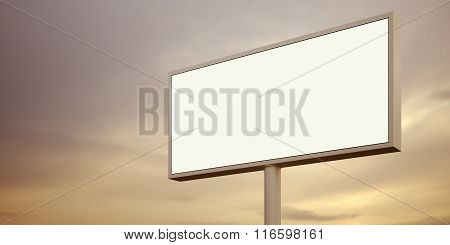 Blank billboard sign at sunset time. Wide, night sky on the background. 3d render