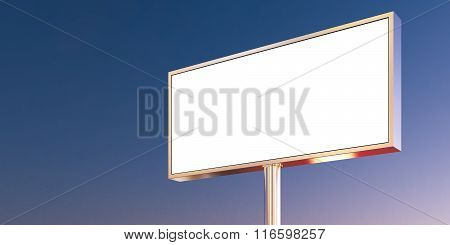 Blank billboard made of chrome metal at sunset time ready for new advertisement. Front view. 3d rend