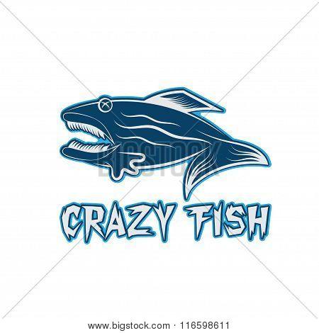 Crazy Fish Cartoon Mascot Vector Design Template