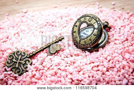 Heart Pocket Watch And Key For Valentine