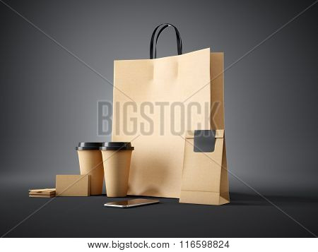 Set of craft shopping bag, take away cups, paper package, blank business cards and generic design sm