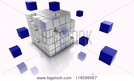 Big Data Cubes Concept Illustration Silver And Blue