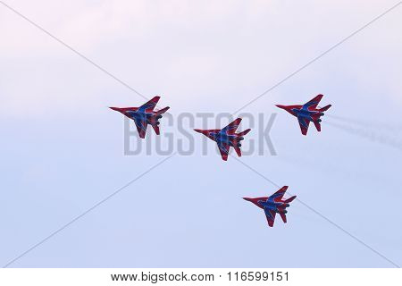 Perm, Russia - Jun 27, 2015: Four Mig 29 Fighter Planes Team Perform On Airshow Wings Of Parma