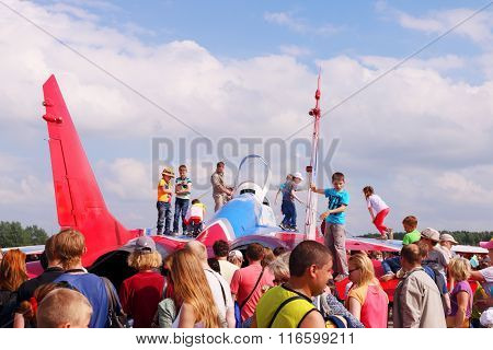 Perm, Russia - Jun 27, 2015: Children On Military Aircraft During Airshow Wings Of Parma