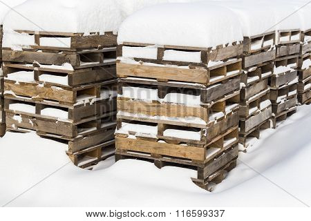 Construction Pallets In The Snow