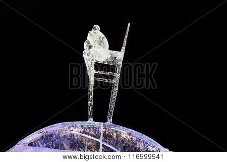 Perm, Russia - Jan 26, 2015: Ice Sculpture Thinking Boy In Ice Town