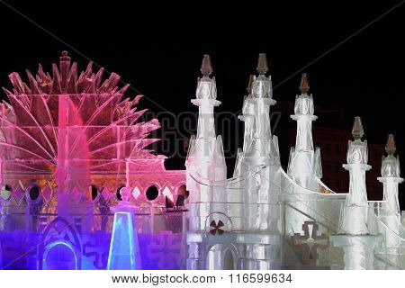 Perm, Russia - Jan 26, 2015: Ice Castle With Colored Illumination In Ice Town