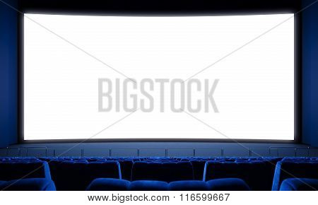 Movie theater with empty seats and big white screen. 3d render