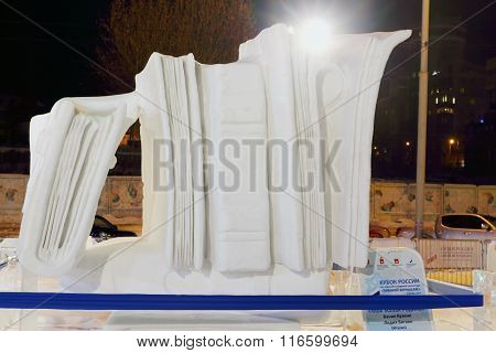 Perm, Russia - Jan 26, 2015: Snow Sculpture Big Books In Ice Town