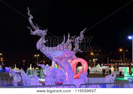 Perm, Russia - Jan 26, 2015: Ice Sculpture Sea Horse In Ice Town