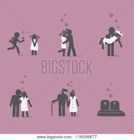 Couple in love from beginning to end. Love story of couple in different life ages and situations