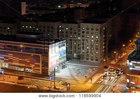 Perm, Russia - Feb 01, 2015: Iceberg Modern Mall At Night And Cars