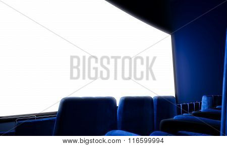 Closeup of empty cinema screen with blue seats. 3d render
