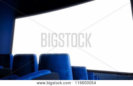 Closeup of empty cinema screen with blue seats.Wide. 3d render