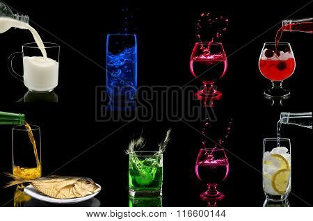 Glasses with different drinks on black background