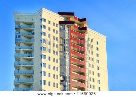 Perm, Russia - Feb 17, 2015: Yellow Residential Building. In 2014 Residential Buildings Were Built I