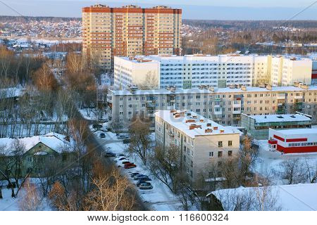 Residential Area With Buildings In Snow At Sunny Winter Day In Perm, Russia