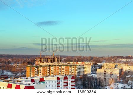 Residential Area With Buildings In Snow At Sunny Winter Evening In Perm, Russia
