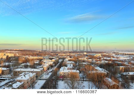 Residential Area With Buildings In Snow At Sunny Winter Evening, Panoramic View
