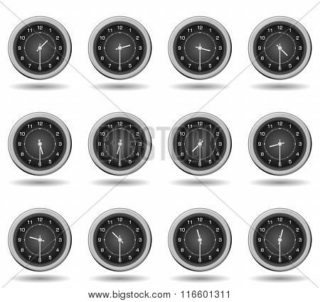 Set Of Black Clocks For Business Hours. Half Past Hours Version