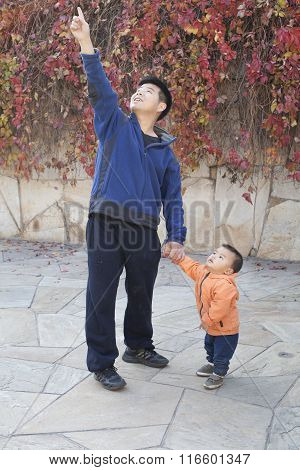 Chinese Father And Son Pointing Afar