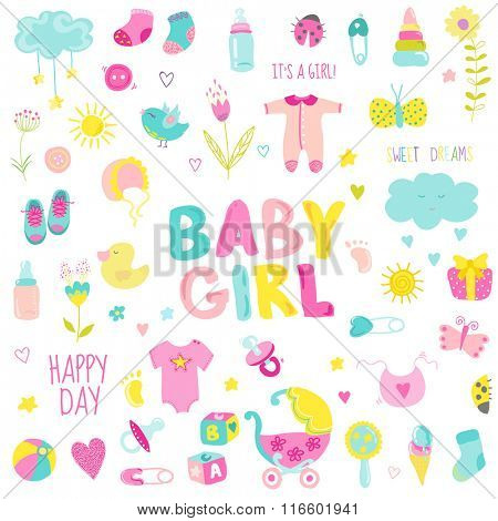 Baby Girl Design Elements - for design and scrapbook - in vector