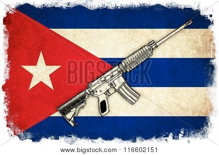 Cuba Grunge Flag Illustration Of Country With Text