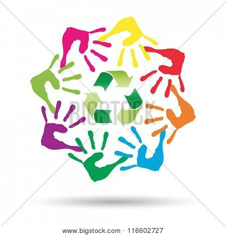 Vector conceptual circle or spiral made of painted human hands with green recycle symbol for ecology isolated on white background