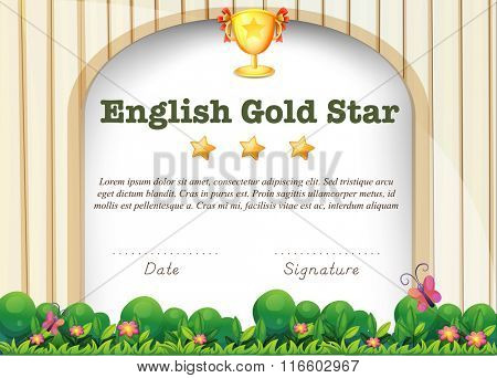 Certification template for english subject illustration