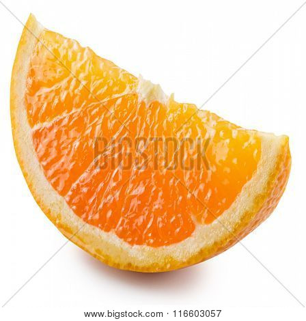 Segment of an orange fruit. File contains clipping paths.