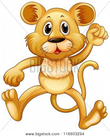 Cute little cub jumping illustration