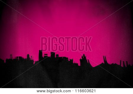 Silhouette old deserted town, with pink background