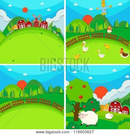 Four scenes of farmland with barn and animals illustration