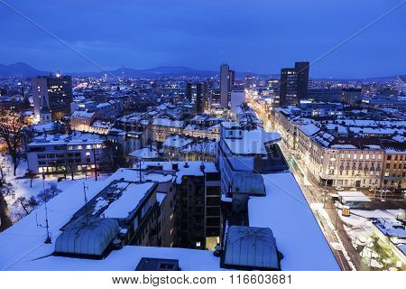 Panorama Of Ljubljana At Night