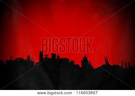 Silhouette old deserted town, with red background