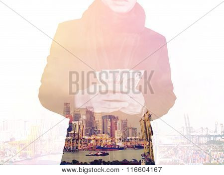 Double exposure, businessman holding cash with cityscape, abstract concept, vintage tone