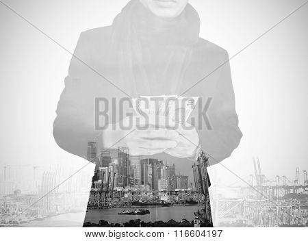 Double exposure, businessman holding cash with cityscape, abstract concept, vintage tone, black and