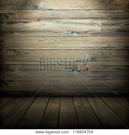 old wooden interior, is empty for your design