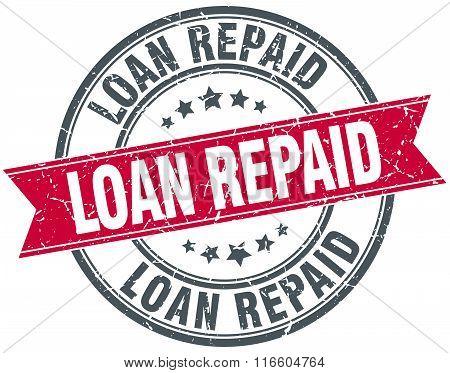 loan repaid red round grunge vintage ribbon stamp