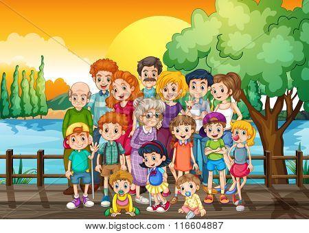 Family members standing on the bridge at sunset illustration