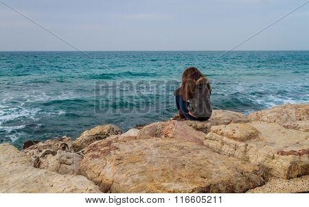 Girl Looking At Mediterranean Sea In Tel Aviv